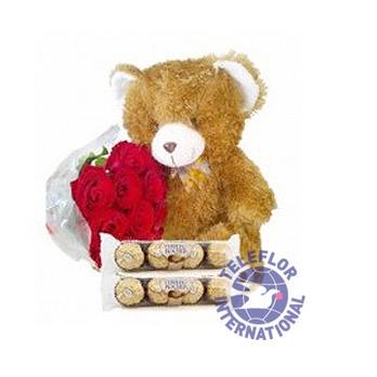 [태국]12 (standard) Roses, Bear & Chocolates