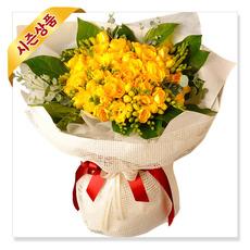 봄의향기 프리지아꽃다발